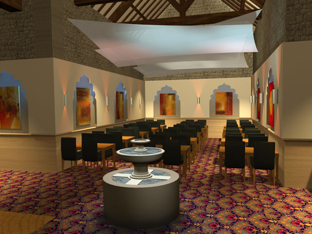 Interior 3D visuals for an Indian Restaurant in Bristol