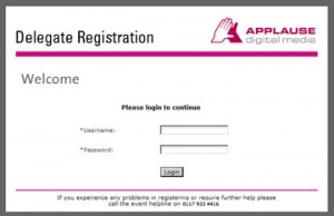 Delegate Registration Login Screen